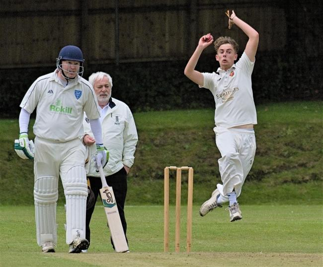 Shanklin bowler Benji White in full flow against Verwood at Westhill on Saturday.  Photo: Andrew Cooper
