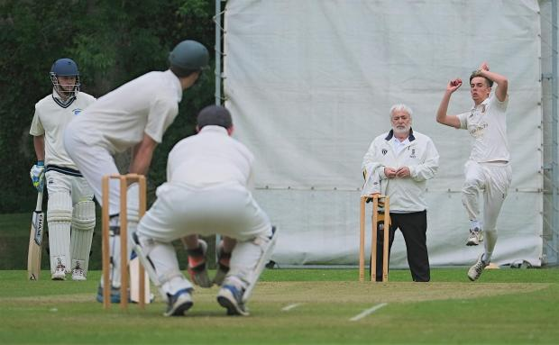 Isle of Wight County Press: Shanklin pace bowler Benji White goes on the offensive against Verwood in their Hampshire Division 3 (South) match at Westhill on Saturday.
