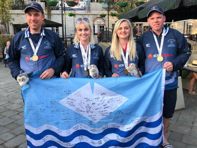 Team Isle of Wight shooting medal winners — sisters Imogen and Shelley Moss, Matt Reed and Perron Phipps.  Photo: Matt White
