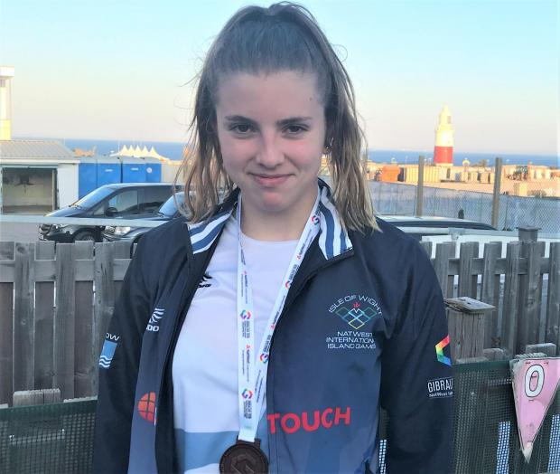 Isle of Wight County Press: Team Isle of Wight swimmer Abigail Lacey, who won bronze, her second medal of the Island Games, in the 200m individual medley. Photo: Matt White