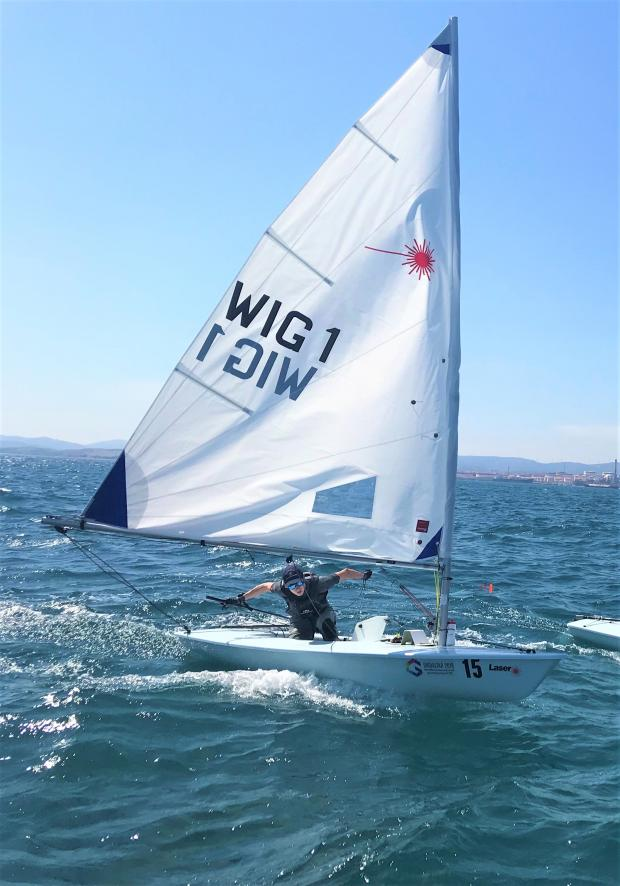 Isle of Wight County Press: Team Isle of Wight sailor Harry White in action in the Laser Radial rig final in the Mediterranean waters off Gibraltar.