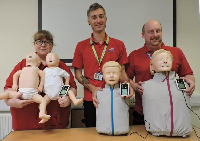 The resuscitation team with new manikins.