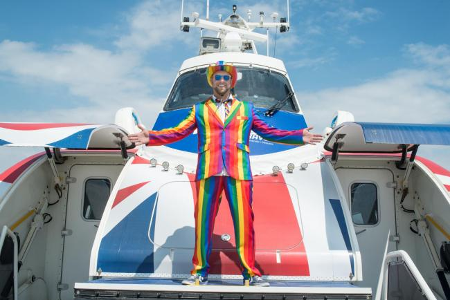 Hover Pride champ Nick Wood. Hovertravel Pilot shortlisted for Travel Pride Champion.