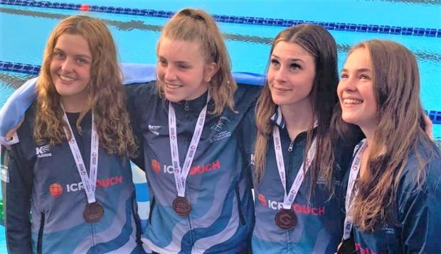 Isle of Wight County Press: Team Isle of Wight's ladies' 4 x 100m medley relay swimming team, who won bronze yesterday (Thursday).