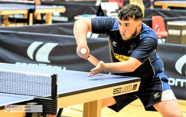 Isle of Wight County Press: Team Isle of Wight's George Downing in table tennis action in the Island Games.