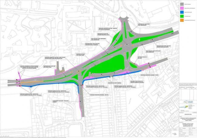The plans involve replacing the roundabout with traffic light-controlled junctions.