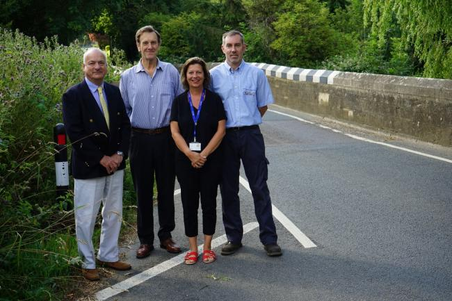 Left to Right: Cllr Ian Ward, cabinet member for infrastructure and transport, Cllr Roy Bevan, chairman of Newchurch Parish Council, local ward member Cllr Clare Mosdell, and Paul Hendy, a partner in Bartletts Service Station.