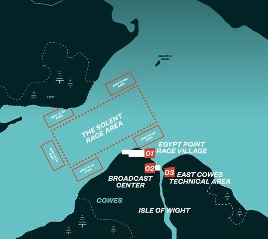 Isle of Wight County Press: Map of the SailGP race area at Cowes Week.