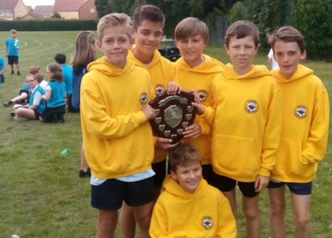 Overall winners, Queensgate Primary School Year 6 Boys Athletic Team. Left to right, Will Bridi, George Bridi, George Holbrooke, James Heng and Wilf Sutton. Front, Kai Grace.