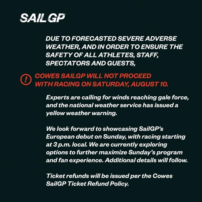 Sail GP organisers posted this statement on Facebook.
