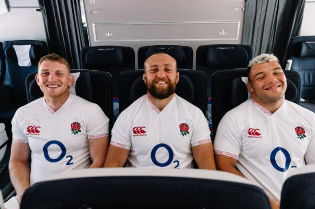 Genge (right) joined England teammates Ruaridh McConnochie and Tom Dunn for the British Airways experience