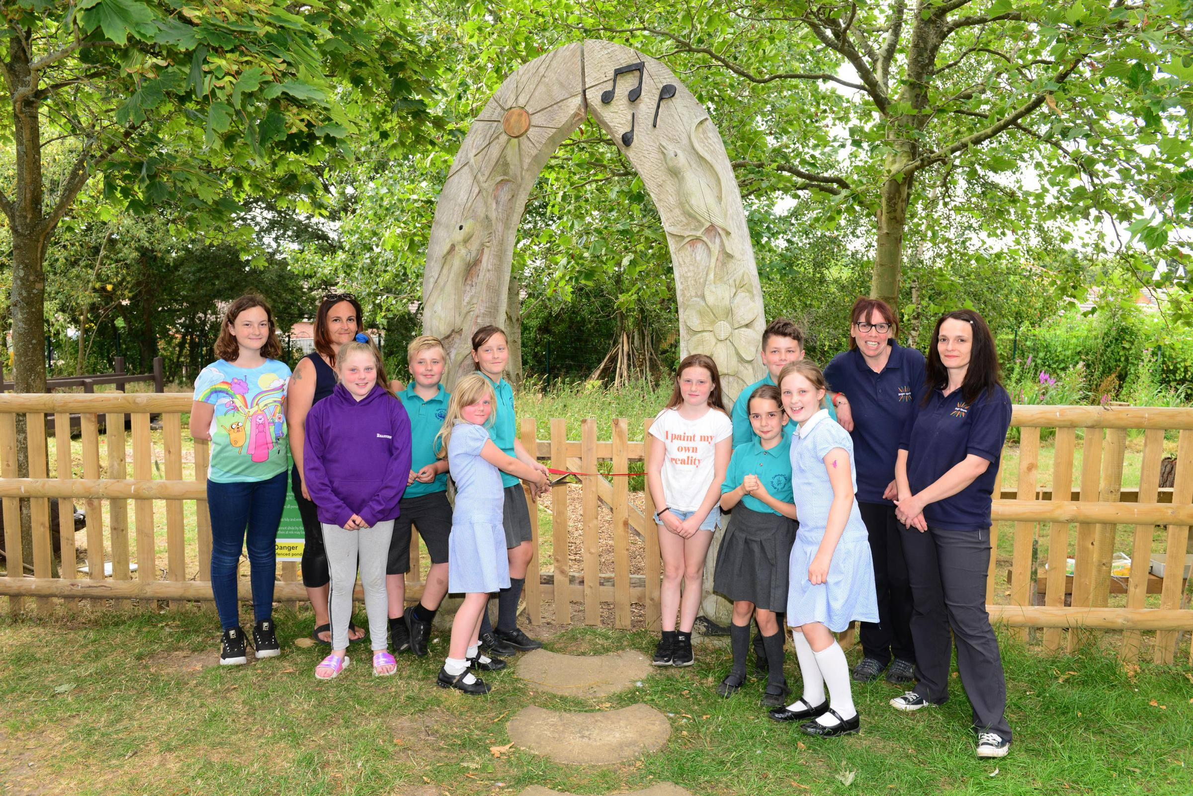Newport children welcome new forest school — complete with bug hotel, pond and fire pit