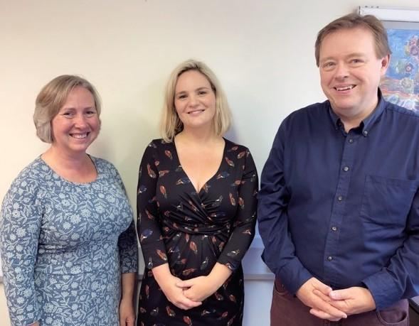 Left to right: New Isle of Wight Youth Trust chief executive Clare Cannock, former chief executive Mairead Healy and chair Malcolm Marshall.