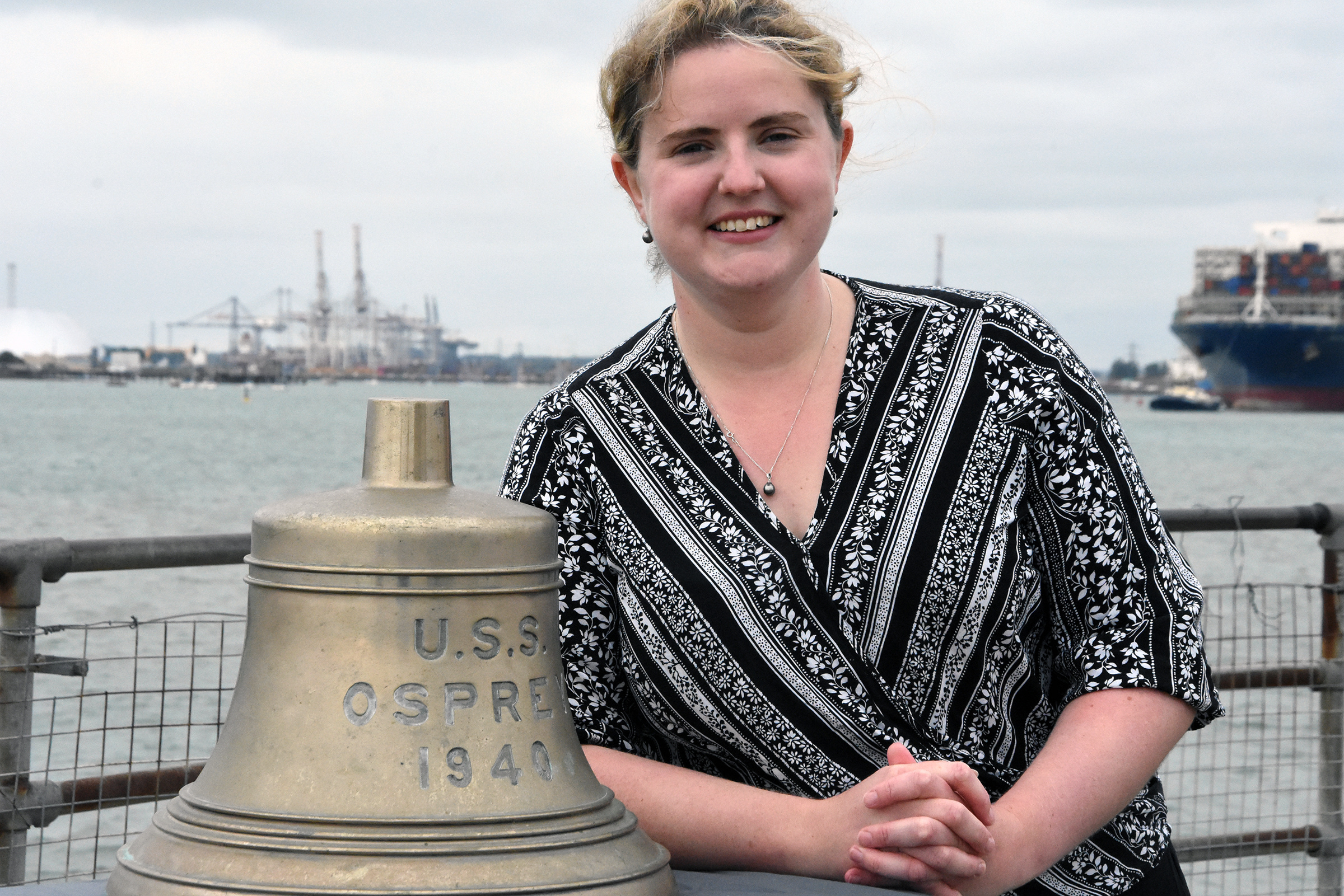 Bell from US Navy warship, USS Osprey, sunk off the Isle of Wight is heading home