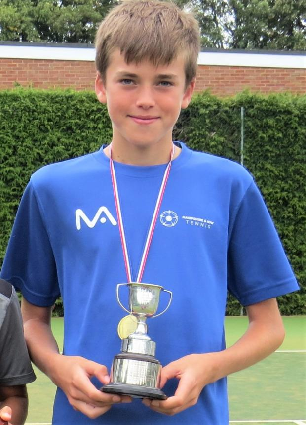 Isle of Wight County Press: Arthur Attrill 12U Boys County Champion at the Hampshire and IW Lawn Tennis Association County Championships in Winchester.
