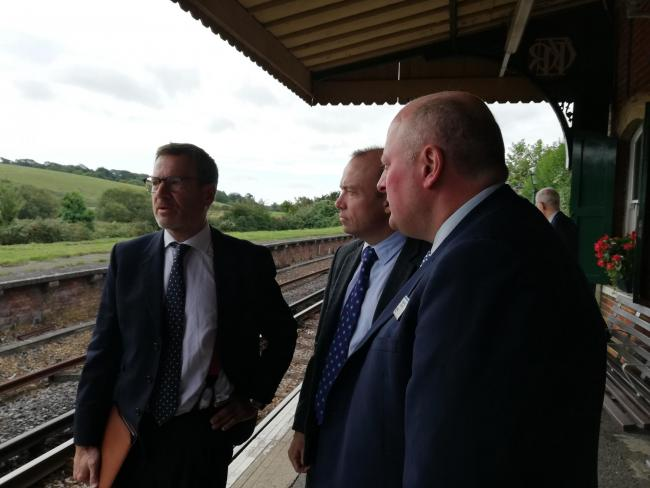 From left: Isle of Wight MP, Bob Seely, rail minister, Chris Heaton-Harris and managing director of South Western Railway, Andy Mellors.