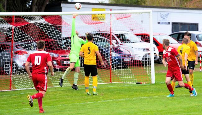 The opening goal for Whitecroft & Barton Sports in their 4-1 over Northwood St John.  Photo: Robin Crossley