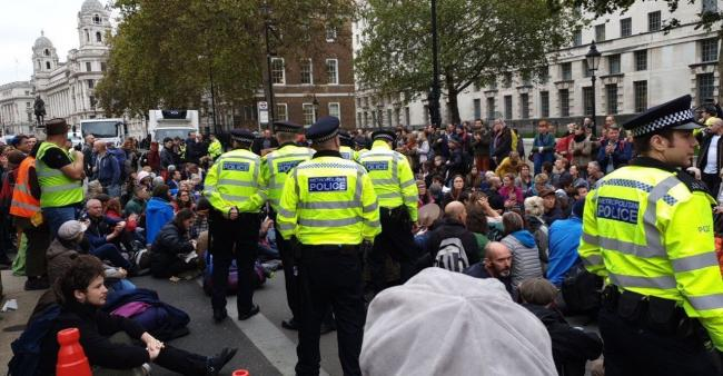 Extinction Rebellion at Whitehall yesterday. Posted by Isle of Wight Extinction Rebellion on Twitter.