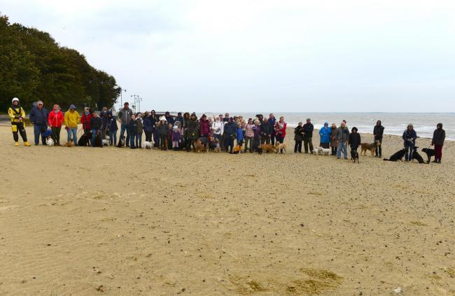 Dog walkers protesting the dog restrictions proposals by the Isle of Wight Council.
