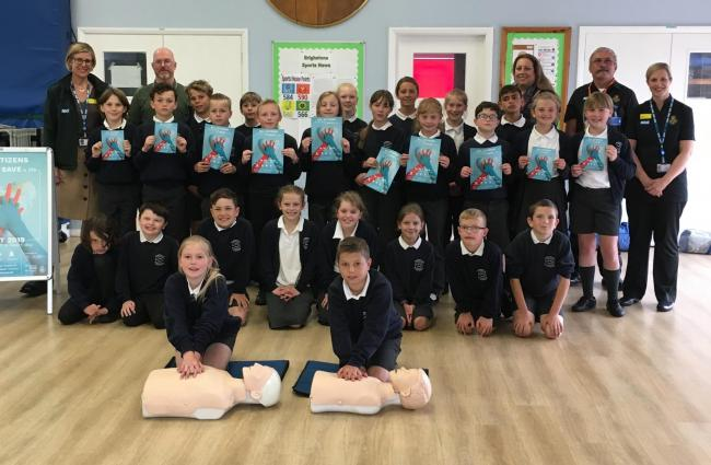 Brighstone Primary School children become lifesavers with free CPR training session.