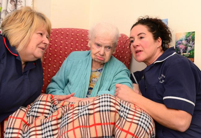 Totland - Little Hayes Care Home - 101 Year old Lillian Leader - Nicola Groom and Mandy Etherton with 101 year old Lillian Leader.