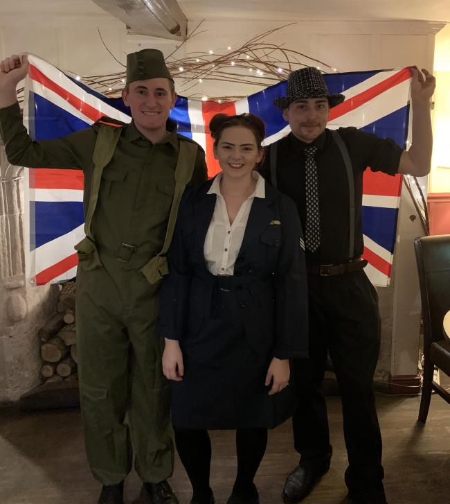 Bugle staff Harrison Burnett, Helen Mawson and Tommy Buckett in 1940s costume.