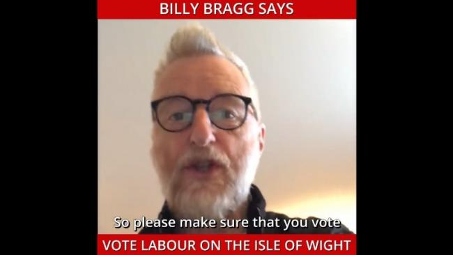 Billy Bragg says Vote Labour on the Isle of Wight.