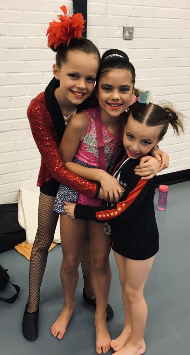 From left, Evie Haward, Alesia Lazar and Emma Willey.