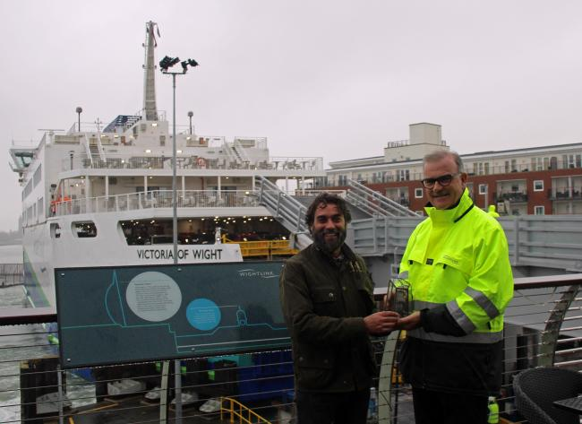 Jarvis Smith from the P.E.A. Awards, in association with Octopus Energy, presents Wightlink's Keith Greenfield with the Travel Award.