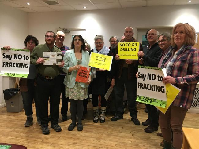 Activitsts meeting at the Isle of Wight to oppose drilling and fracking.