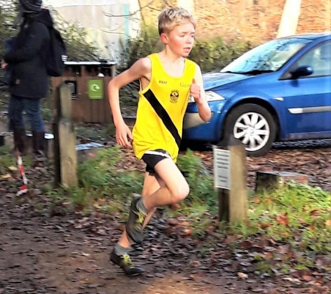 Archie Pearson, of the Isle of Wight Athletic Club, competing in the U13 boys' race in the third round of the Hampshire Cross-Country League.