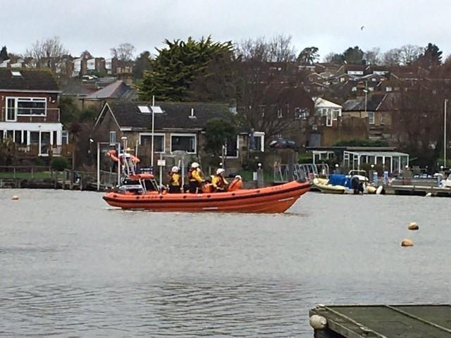 The Cowes RNLI lifeboat searching Wootton Creek.