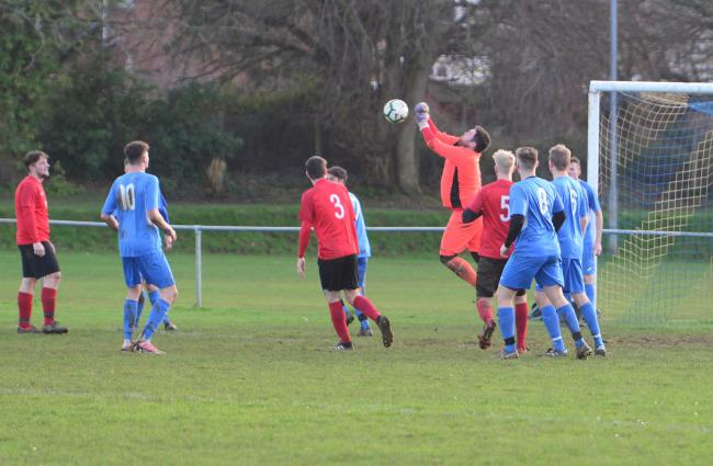 Goalmouth action in the Shanklin v Cowes Sports Reserves clash in Division 1 of the Island League.  Photo: Paul Blackley