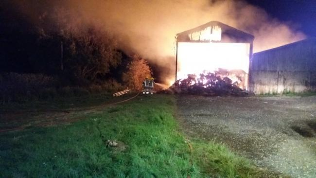 The barn fire at Upton which has raged for over 16 hours. Picture: East Cowes Fire Station.