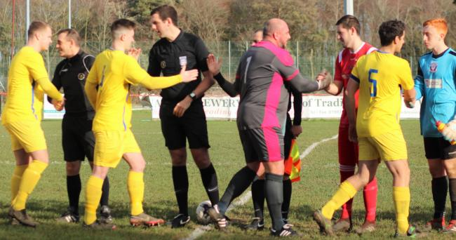 The Sydenhams Wessex league has banned players and officials from handshaking at matches until further notice.  Photo: Graham Brown
