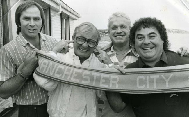 Bernie Cullen, Syd Little, Jeff Manners and the late Eddie Large, at Sandown Pavilion in 1987.