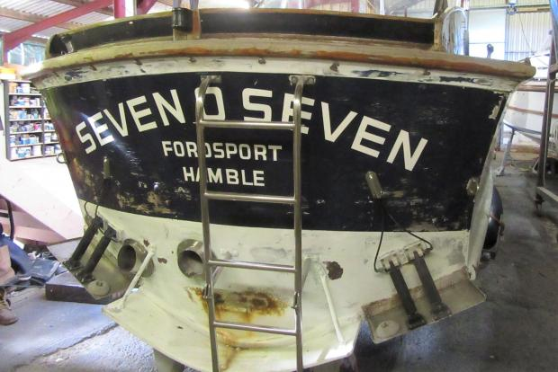 Isle of Wight County Press: Fordsport 707 was brought into Whittle Marine on the Island for restoration.