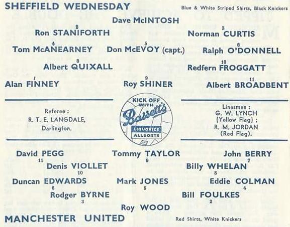 Isle of Wight County Press: The team-sheet for the Owls' Division One match at home to Sir Matt Busby's pre-Munich Manchester United side, against which he scored the winner in a 2-1 victory in front of 51,068, in January 1957.