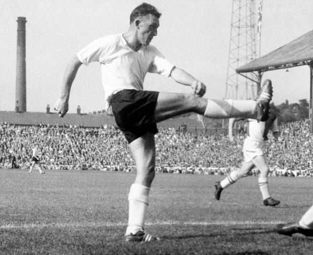 Isle of Wight County Press: Roy Shiner, in action for Sheffield Wednesday against Blackburn Rovers, Division One, 1959.