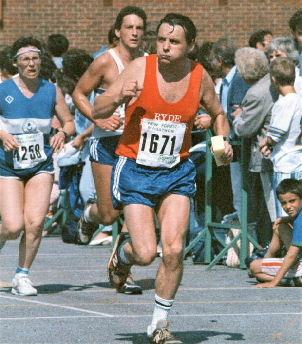 Isle of Wight County Press: The athlete — Ray in action in the New Forest Half marathon in September 1988.