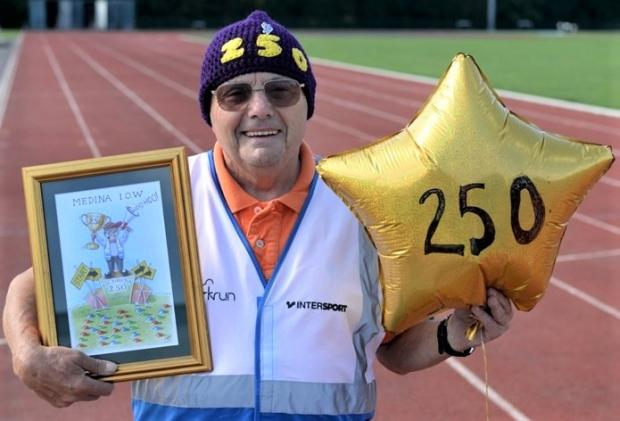Isle of Wight County Press: Ray Scovell celebrating the 250th Medina parkrun.