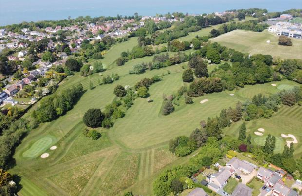 Isle of Wight County Press: Still of drone footage of Cowes Golf Club's course this week. Image: Andrew Palfrey