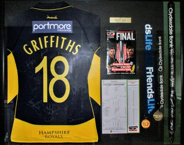 Isle of Wight County Press: The shirt David Griffiths wore playing for Hampshire Royals against Warwickshire Bears in the Clydesdale Bank 40 final at Lords in 2012.