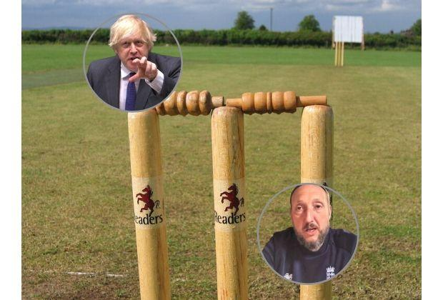 The Isle of Wight Cricket Board's head of cricket, coach and ex-pro Andy Woodward (inset) stunned by Boris Johnson's 'vector of disease' ball comment.