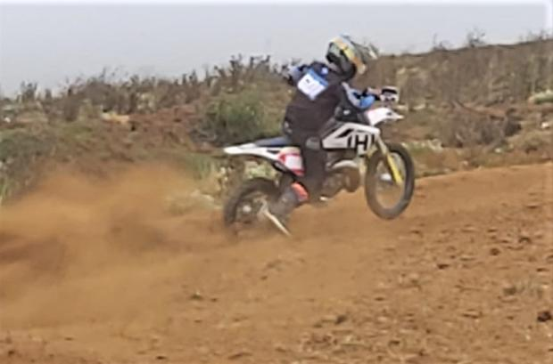 Isle of Wight County Press: A rider using one of the sharp bends at the new motocross track off the Island's Military Road.