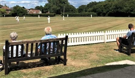 Isle of Wight County Press: Spectators at Westhill enjoying the match between Shanklin and Newport's first teams on Saturday.