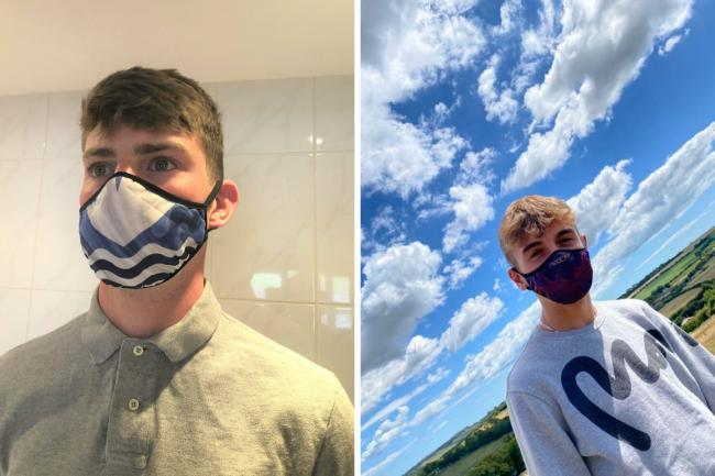 Lucca Toms, 16, wearing one of his Isle of Wight-themed face masks.