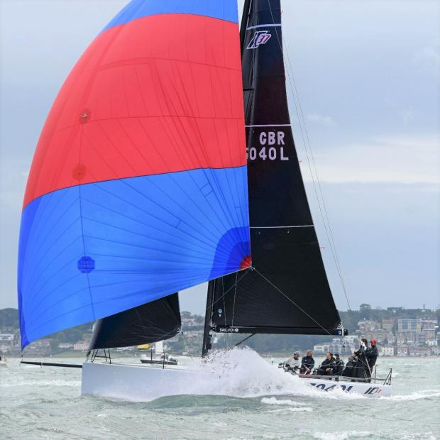 Isle of Wight County Press: Ian Atkins' Melges IC37 Icy. Photo: John Green, Cowes