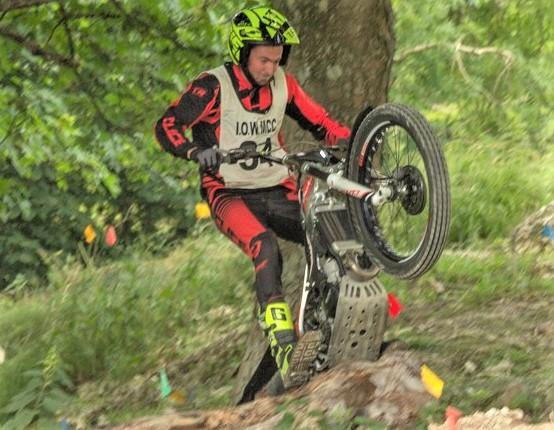Isle of Wight County Press: Rob Howard in action in the first heat of the Isle of Wight Motorcycle Club Summer Trials Championships, at Newbarn Farm, Calbourne.