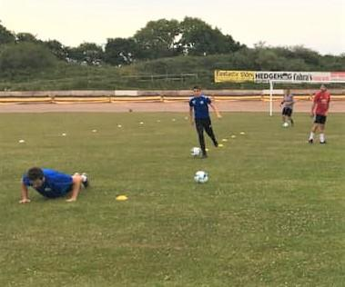 Isle of Wight County Press: Ryde Saints doing some socially distanced training at Smallbrook.